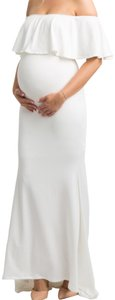 PinkBlush Ivory Ruffle Off Shoulder Mermaid Maternity Photoshoot Gown/Dress