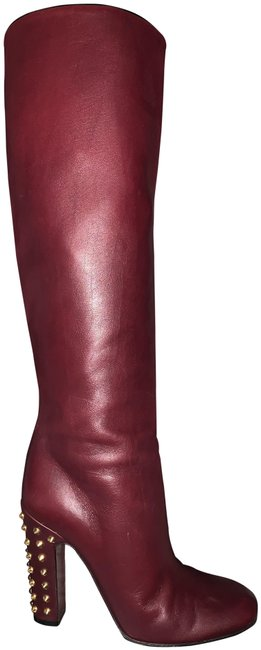 Item - Burgundy Leather 'jacquelyne' Spike Heel Tall Boots/Booties Size US 6 Regular (M, B)