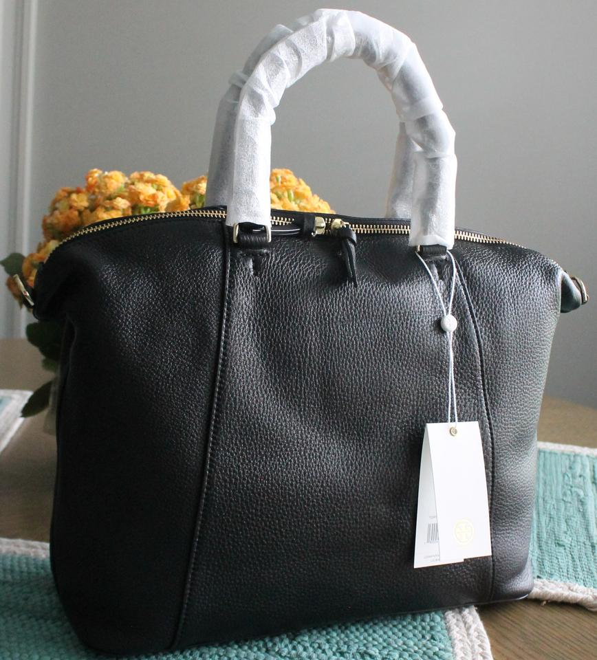 Satchel Black Tote Burch Tory Bombe Leather qvWYcg6