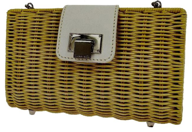 Item - Clutch Tan Lunch Evening 2 In 1 Shoulder Caramel White Silver Wicker Leather Cross Body Bag