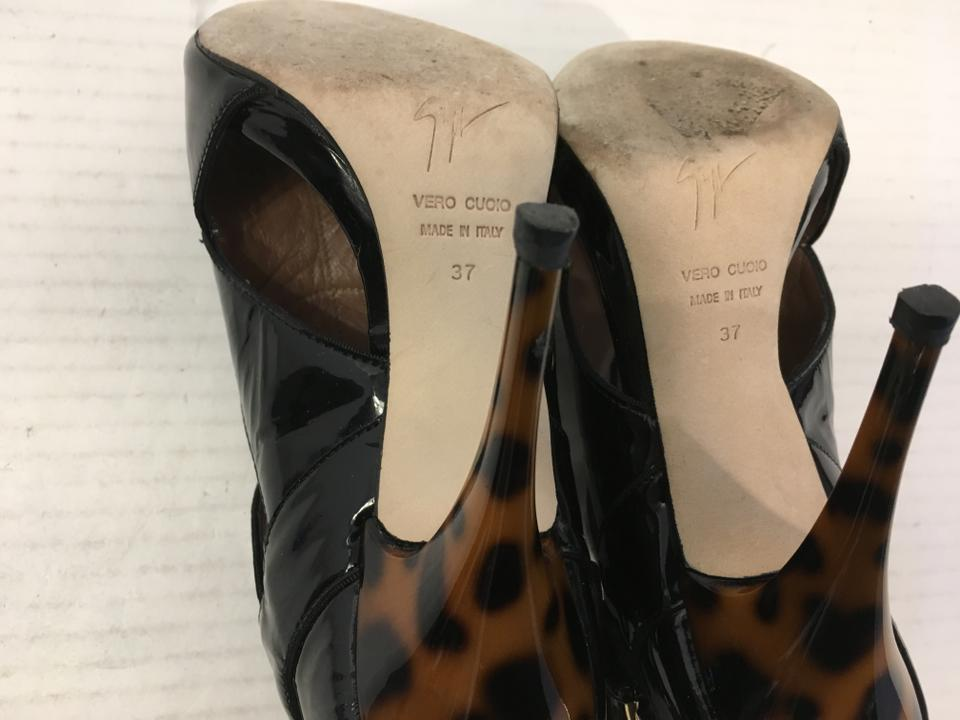 Stilettos Italian Pumps Peep Outs Zanotti Leather Giuseppe Toe Leopard Buckle Offer Attractive An Patent All Cut Black Pattern Make Strap vFFHqTwga