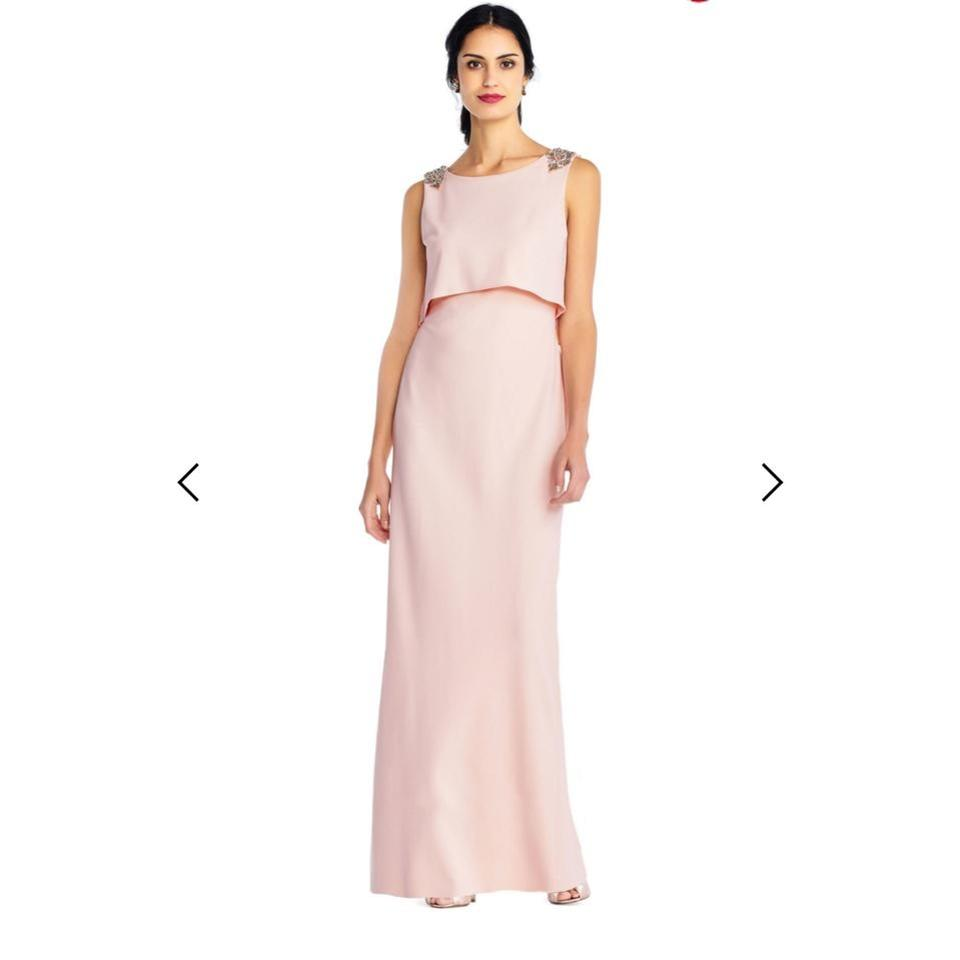0b3b3bac Adrianna Papell Blush Crepe Popover Gown with Sequin Shoulder Accent ...