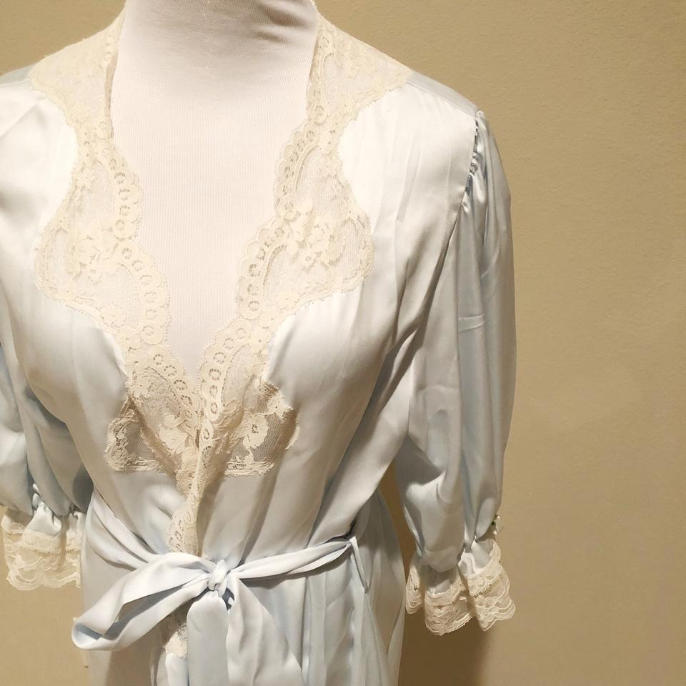 5c2ce2f69db Dior Ivory Lace Baby Blue Vintage Christian Robe - Tradesy