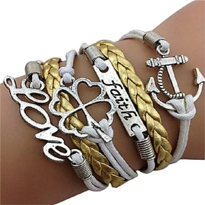 Other Multi Wrap Love Clover Faith Anchor Leather Bracelet
