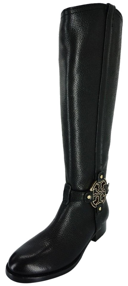 976237815f5368 Tory Burch Black Amanda Leather Tall Riding Logo Strap Knee Boots Booties