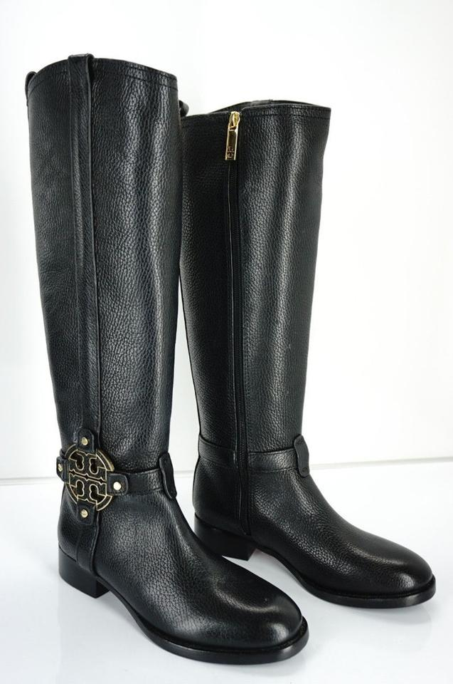784f2a4c7c0 Tory Burch Black Amanda Leather Tall Riding Logo Strap Knee Boots Booties  Size US 5 Regular (M