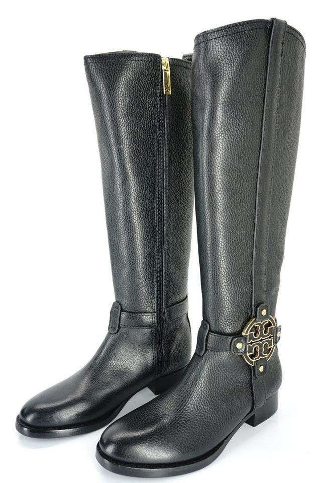 bcf72c135397d3 Tory Burch Black Amanda Leather Tall Riding Logo Strap Knee Boots ...
