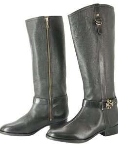 Tory Burch Riding Logo Stacked T Black Boots