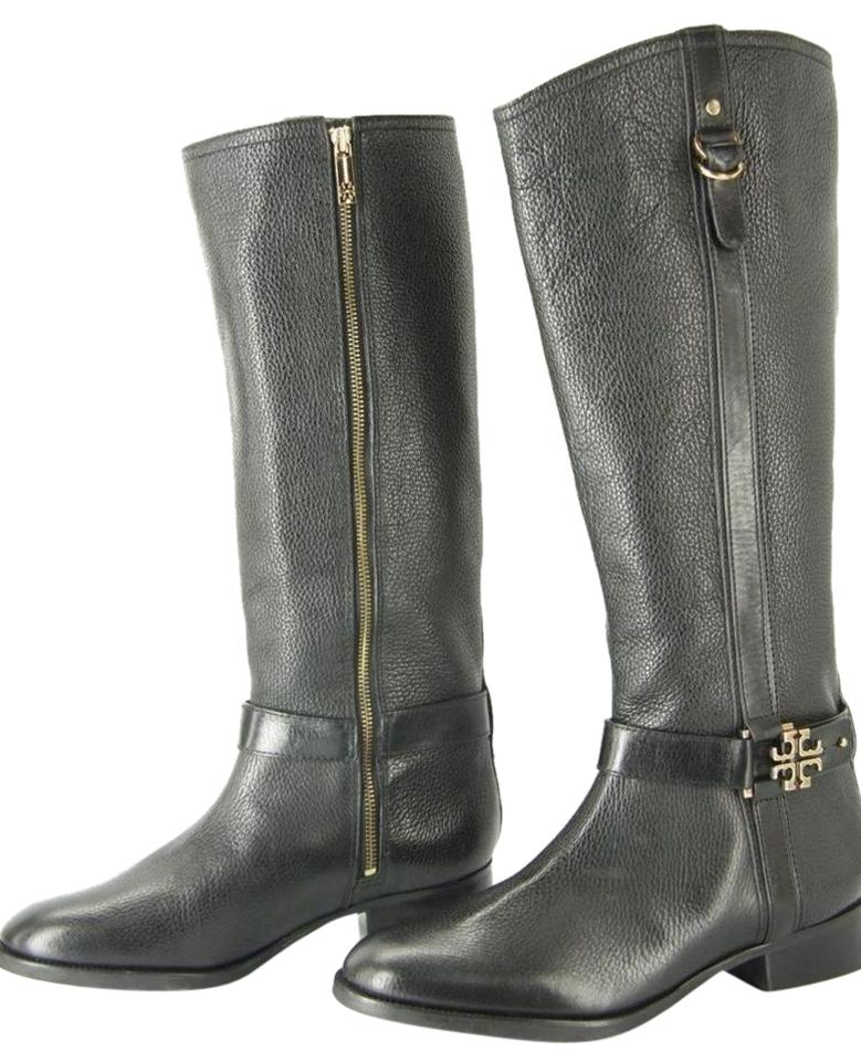 ba1b151d702c Tory Burch Black Leather Elina Gold Reva Tall Riding Belted Boots Booties.  Size  US 10.5 Regular (M ...