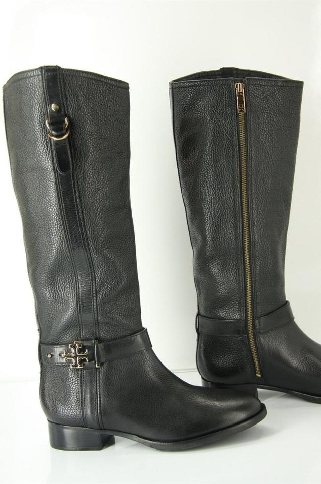 9607c0b467c7 Tory Burch Black Leather Elina Gold Reva Tall Riding Belted Boots Booties  Size US 10.5 Regular (M