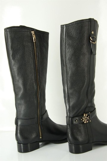 130ab38e8610 Tory Burch Black Leather Elina Gold Reva Tall Riding Belted Boots ...