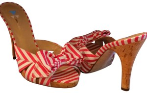 Daniblack Bow Fabric Red and white Sandals