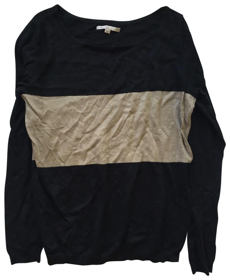 Tips On Blending Great Colors With Beige: Gap Cotton Silk Blend Color-blocked Black And Tan Sweater