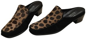 Stuart Weitzman Leopard Print Animal Print Genuine Leather Genuine Suede Black Brown Mules