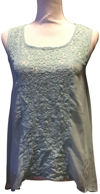 Item - Blueish Green Sheer and Lace Tank Top/Cami Size 8 (M)
