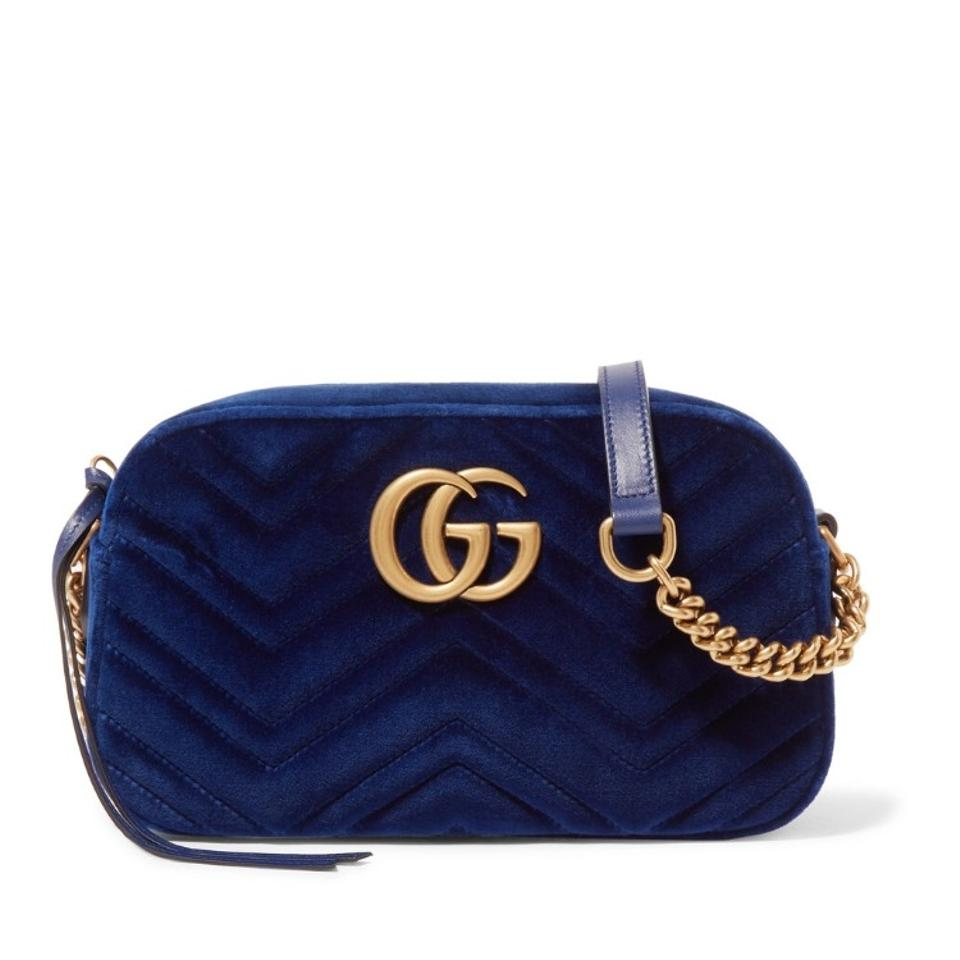 78751a983d16 Gucci Chain Marmont Small Quilted Velvet Shoulder Cross Body Bag ...