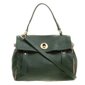 Saint Laurent Canvas Leather Tote in Green