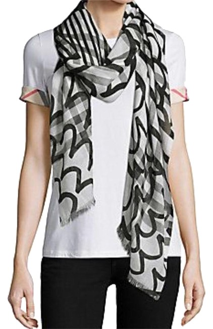 Item - Black / White Painted Patchwork Printed Giant Check Wool Silk Gauze Scarf/Wrap