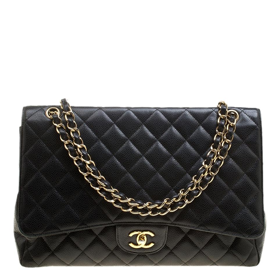 262bb85488f8 Chanel Classic Flap Quilted Maxi Classic Single Black Leather Shoulder Bag