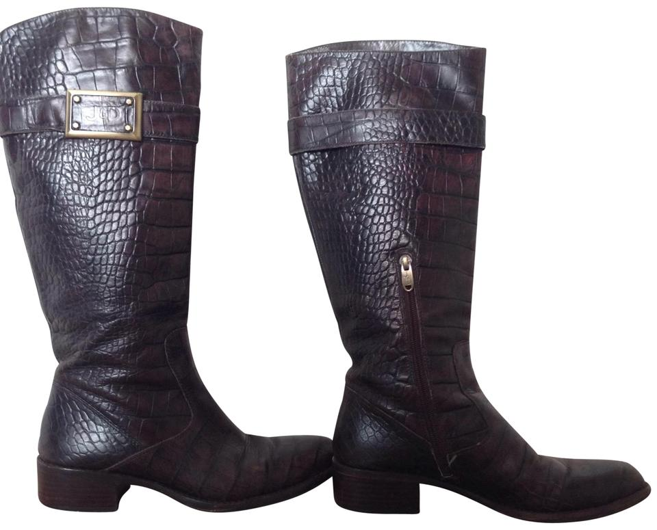 3c985266c02 Joan & David Brown Croc Embossed Roberta Leather Boots/Booties Size US 7.5  Regular (M, B)