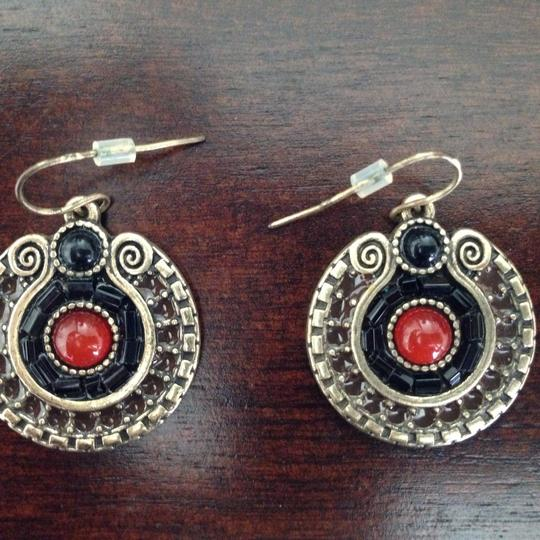 Unbranded Black Red And Bronze Colored Round Drop Dangle Earrings