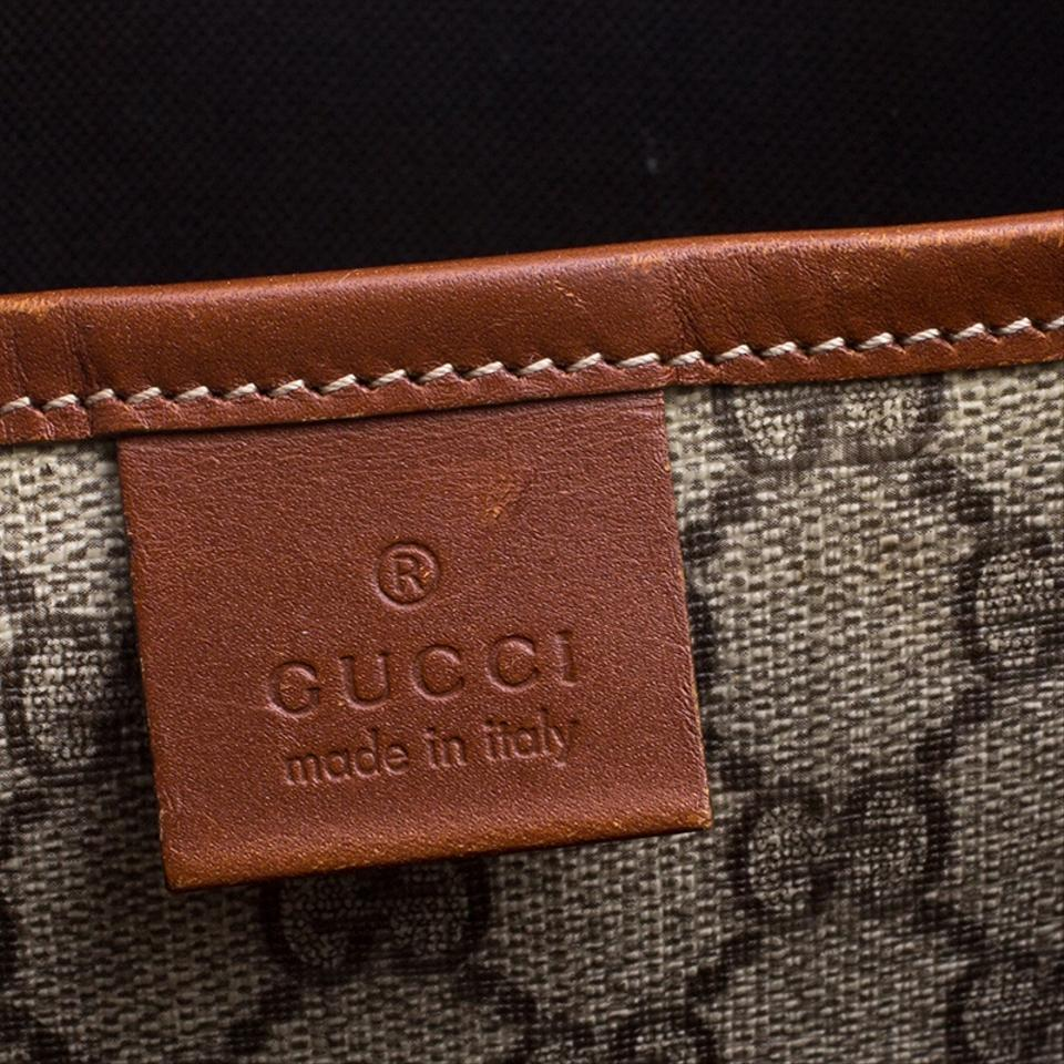 b11c91cd89c7 Gucci Beige/Brown Gg Supreme and Leather Vertical Web Loop Beige ...
