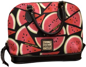Dooney & Bourke Bitsy Coated Canvas Watermelon New W/Tags Satchel in Black and Pink