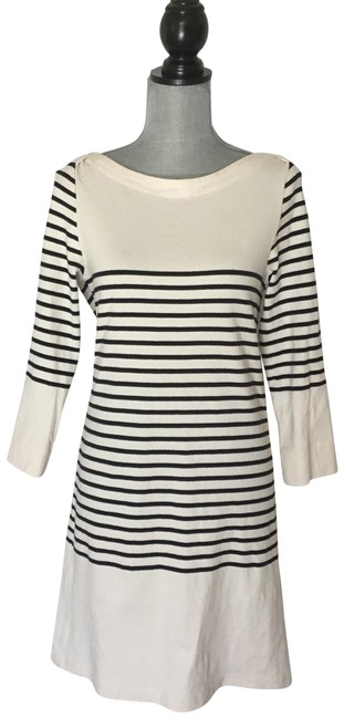 Item - Black and White Nautical Mid-length Short Casual Dress Size 6 (S)