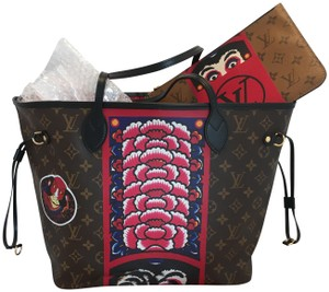 Louis Vuitton Kabuki Neverfull Neverfull Limited Edition Tote in brown red