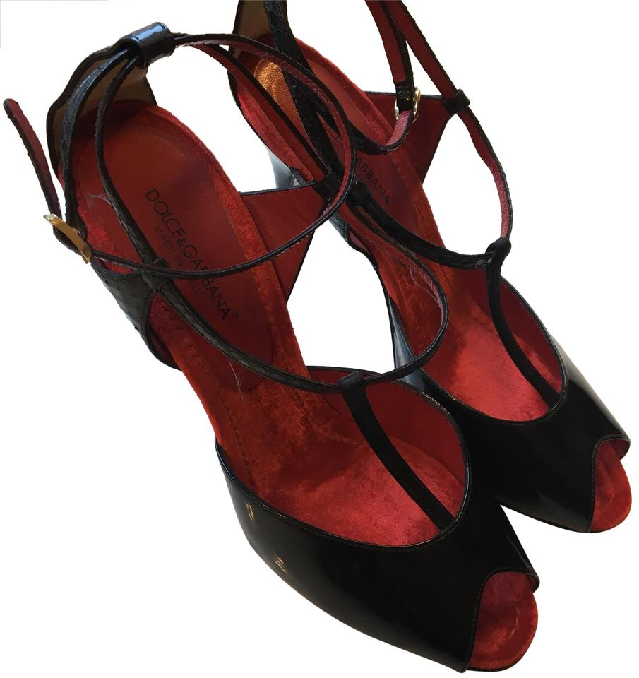 0e80129c8 Dolce Gabbana Black with Red Sole Snakeskin T-strap Sandals Pumps ...