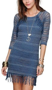 Free People short dress Blue Lace Fp New Long Sleeve Bell Bohemian Boho Party Romantic Flapper Wedding Guest on Tradesy