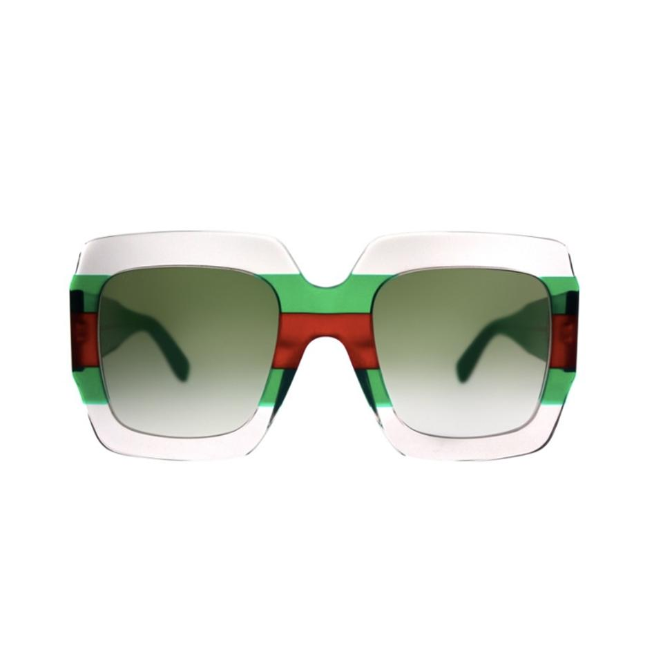9b5c4686c2 Gucci Clear New Gg0178 S Red Green Striped Oversized Square Sunglasses