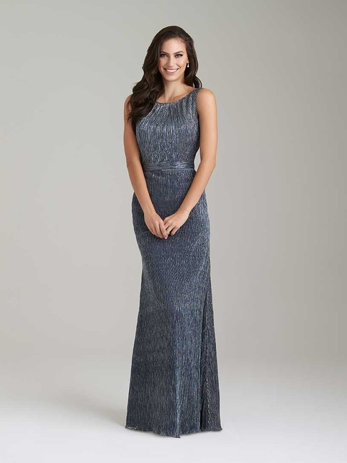Item - Navy Shimmer Knit 1472 Formal Bridesmaid/Mob Dress Size 8 (M)