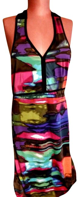 Ethyl Multicolor Women's M Nwot Colorful Halter with Black Tie and Detail N Mid-length Short Casual Dress Size 10 (M) Ethyl Multicolor Women's M Nwot Colorful Halter with Black Tie and Detail N Mid-length Short Casual Dress Size 10 (M) Image 1