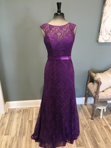 Allure Bridals Eggplant Chiffon 1404 Formal Bridesmaid/Mob Dress Size 8 (M)