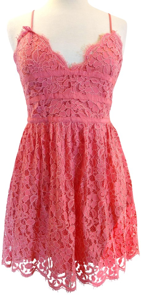 7b049bc778ef NBD Coral Give It Up Lace Fit & Flare Shoestring Strap Mini Night Out Dress