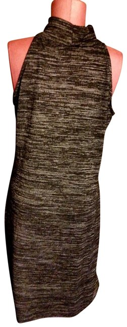 Item - Neutrals L Women's Knit Black and Silver Marled Knit Mid-length Short Casual Dress Size 12 (L)