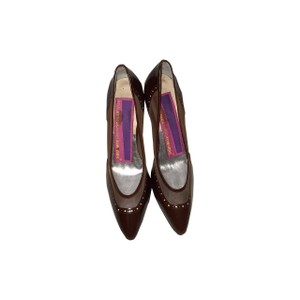 Susan Bennis/Warren Edwards Vintage Crystal Mesh Leather Brown Pumps