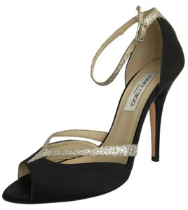 Jimmy Choo Glitter Satin Black Sandals