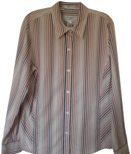 Villager Stretch Striped Long Sleeve Button Front Button Down Shirt Multi-Color