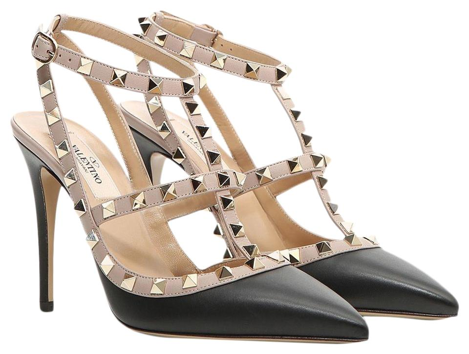 Rockstud Valentino Point Heel Caged toe Matte Classic Pumps Strappy Black Colorblock Leather BwfEqS6wx
