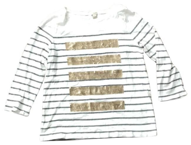 Item - White with Gray Stripes Gold Sequins Long Sleeve Tee Tunic Size 12 (L)