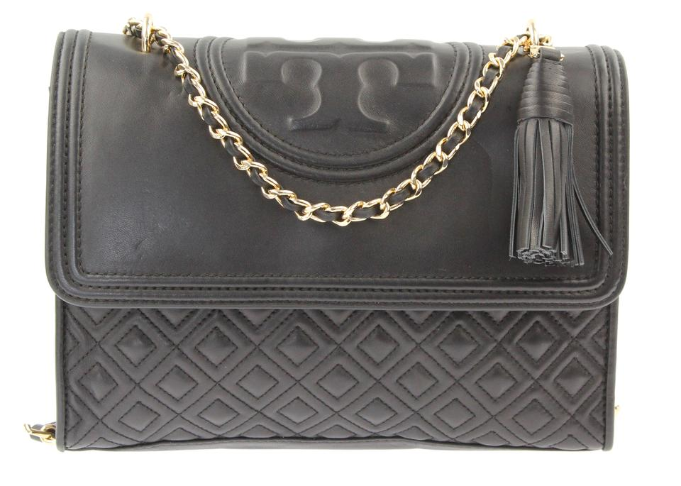 Leather Bag Fleming Black Tory Burch Convertible Shoulder YRq1zwI
