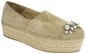 Miu Miu Party Jute Espadrille Cap Toe Beige Platforms