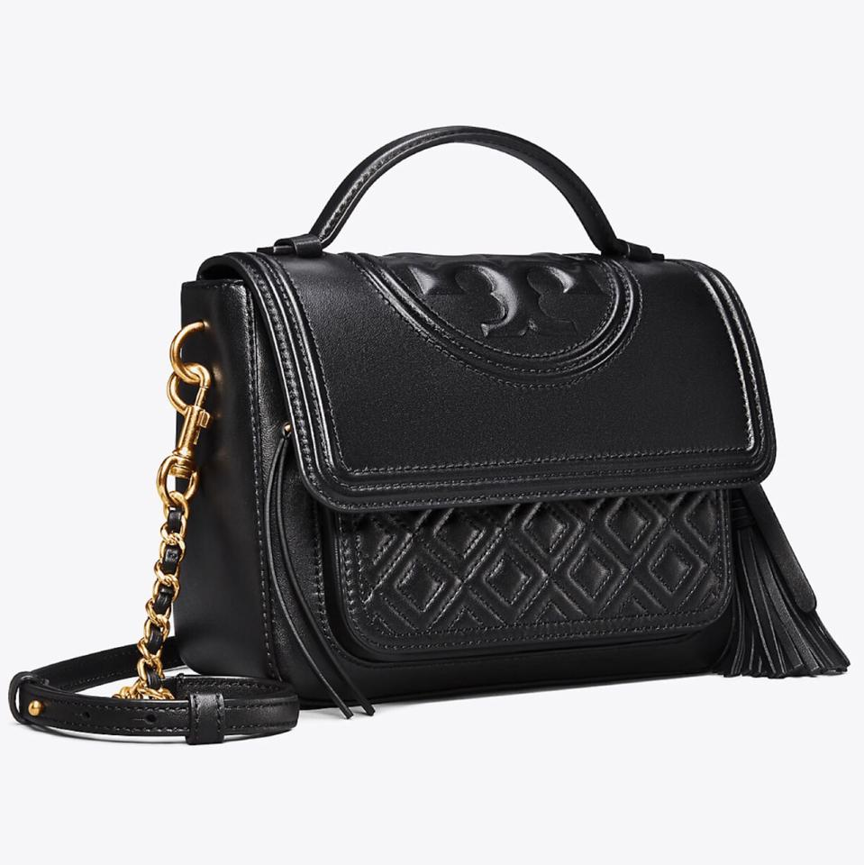 97d9be79874 Tory Burch Fleming Satchel Black Quilted Leather Cross Body Bag - Tradesy