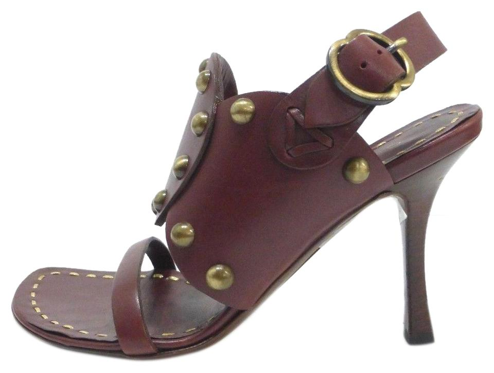 Céline Brown Euro Leather W/Stud Detail 5 Euro Brown Sandals d6be5a