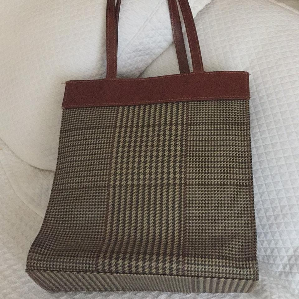89d14b5a0597 Ralph Lauren Vintage Classic Houndstooth Plaid Brown Leather Tote ...