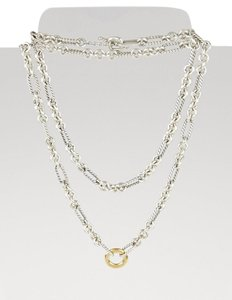 "David Yurman Figaro Sterling Silver & Round 18K Gold 32"" link necklace"