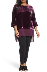 Eileen Fisher Silk Chiffon Boatneck Oversized Tunic Top Purple