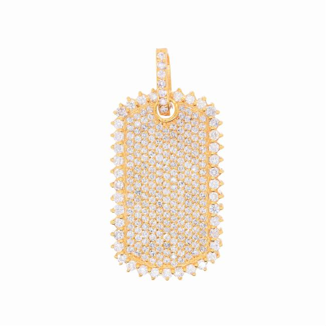 Item - 14k Yellow Gold 4.90ct Diamond Dog Tag Men's Diamond Cluster Iced Out Dog Tag Charm